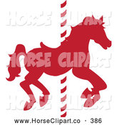 Clip Art of a Silhouetted Red Carousel Horse on a Striped Pole by Pams Clipart