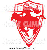 Clip Art of a Silhouetted Red Jousting Knight Pointing His Lance and Emerging from a Shield by Chromaco