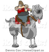 Clip Art of a Silly Cowboy Man Riding a Giant Great Dane Instead of a Horse by Djart