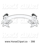Clip Art of a Simple Grayscale Blank Ribbon Banner with a Running Horse on Each Side by C Charley-Franzwa