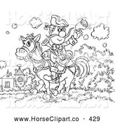 Clip Art of a Sketched Black and White Cowboy Man on Horseback Coloring Page Outline by Alex Bannykh