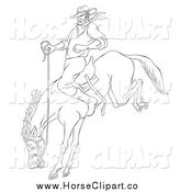 Clip Art of a Sketched Black and White Cowboy on a Bucking Bronco by Patrimonio