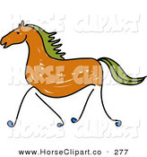 Clip Art of a Sketched Brown Galloping Horse with Green Hair on White by Prawny