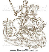 Clip Art of a Sketched Knight on His Steed, Battling a Dragon by Patrimonio