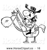 Clip Art of a Sketched Outlined Western Sheriff on a Horse, Holding a Long Pistol by Hit Toon