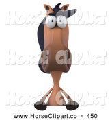Clip Art of a Smiling 3d Charlie Horse Character with a Blank Sign by Julos