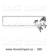 Clip Art of a Spirited Running Wild Black and White Horse over a Website Banner with a Border of Stitching by C Charley-Franzwa