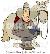 Clip Art of a Spooked Horse Standing Behind a Caucasian Cowboy Pouring a Cup of Coffee by Djart
