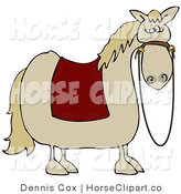 Clip Art of a Spooked Light Horse with a Red Blanket over Its Back and Reins Hanging down from Its Face by Djart