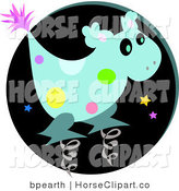 Clip Art of a Spotted Blue Alien Spring Horse Toy Character Against a Black Circle by