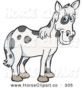 Clip Art of a Spotted Cloned Horse with a Dalmatian Coat Pattern on White by Dennis Holmes Designs