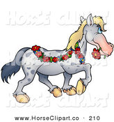 Clip Art of a Spotted Gray Horse Draped in a Floral Garland, Biting a Red Daisy in Its Mouth and Looking Right by Dero