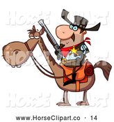 Clip Art of a Stern Western Sheriff on a Horse by Hit Toon