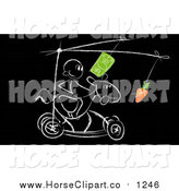 Clip Art of a Stick Man Rolling by on a Motivation Horse, on Black by MacX