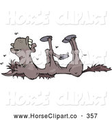 Clip Art of a Stinky Dead Horse with Flies Buzzing Around the Corpse by Dennis Holmes Designs