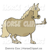 Clip Art of a Stubborn Brown Horse Flipping off a Farmer by Djart