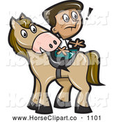 Clip Art of a Surprised Boy Sitting Backwards on a Horse by Jtoons