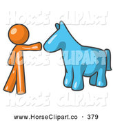Clip Art of a Sweet Orange Man Petting a Blue Horse by Leo Blanchette