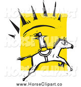 Clip Art of a Talented Girl Standing on a Running Horse by Xunantunich