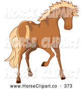 July 6th, 2013: Clip Art of a Tall Brown Horse with a Blond Mane by Bad Apples