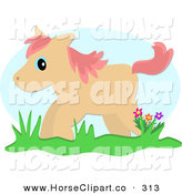 Clip Art of a Tan Pony Standing by Flowers in Grass by