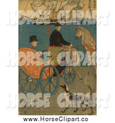 Clip Art of a Tourist in a Horse Carriage in Japan by JVPD
