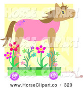Clip Art of a Toy Wheeled Horse with Flowers by