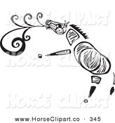 Clip Art of a Tribal Zebra Singing on a White Background by Xunantunich
