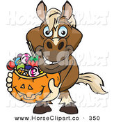 Clip Art of a Trick or Treating Smiling Horse Holding a Pumpkin Basket Full of Halloween Candy by Dennis Holmes Designs