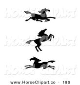 Clip Art of a Trio of Black Silhouetted Southwestern Styled Horses on White by C Charley-Franzwa