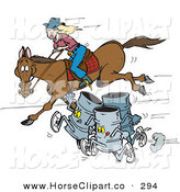 Clip Art of a Trio of Gray Barrels Racing a Woman on a Horse by Dennis Holmes Designs