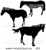 Clip Art of a Trio of Profiled Silhouetted Horses by Dero