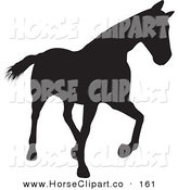 Clip Art of a Trotting Black Silhouetted Horse Walking Right by KJ Pargeter