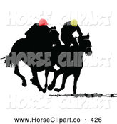 Clip Art of a Two Silhouetted Derby Racers, on White by Leonid