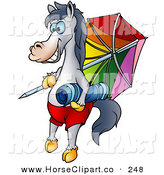 Clip Art of a Vacationing Gray Horse with a Towel and Umbrella on the Beach by Dero