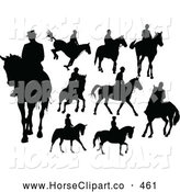Clip Art of a Varied Digital Collage of Horse Riders Silhouetted in Black by