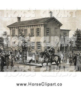 Clip Art of a Villagers Watching Abraham Lincoln on Horseback in Front of His House in Springfield, Illinois by JVPD