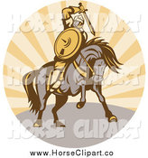 Clip Art of a Warrior Holding a Sword on Horseback by Patrimonio