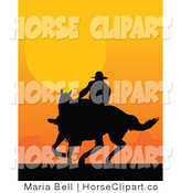 Clip Art of a Western Cowboy Riding a Horse and Silhouetted in Black Against an Orange Sunset by Maria Bell
