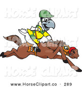 Clip Art of a White and Yellow Cockatoo Bird Jockey Riding Horseback on White by Dennis Holmes Designs
