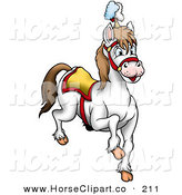 Clip Art of a White Circus Horse Prancing to the Right by Dero