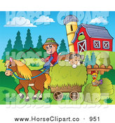 Clip Art of a White Farmer with a Horse and Dog Sleeping on Hay by Visekart