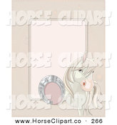 Clip Art of a White Horse Lifting up Its Foot to Show a Good Luck Horse Shoe on Its Foot, with Space for Text on Beige by Pushkin
