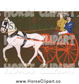 Clip Art of a White Horse Pulling a Coach by JVPD
