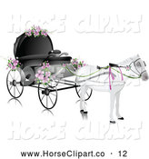 July 9th, 2013: Clip Art of a White Horse Pulling a Wedding Carriage with Pink Flowers, on White by BNP Design Studio