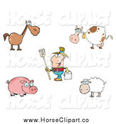 Clip Art of a White Male Farmer and Livestock by Hit Toon