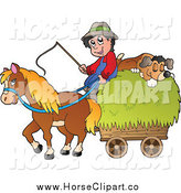 Clip Art of a White Male Farmer with a Horse and Dog Sleeping on Hay by Visekart