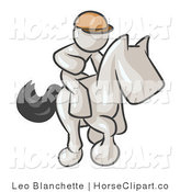 Clip Art of a White Man, a Jockey, Riding on a Matching Race Horse and Racing in a Derby by Leo Blanchette