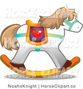 Clip Art of a White Rocking Toy Horse Unicorn with Brown Hair and a Heart Saddle by NoahsKnight