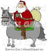Clip Art of a White Santa Claus Riding on a Gray Horse, His Sack of Toys Behind Him by Djart